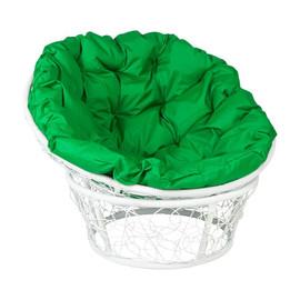 Кресло Papasan, (Patio-23-01 met 5) цвет плетения белый, цвет подушки зеленый EcoDesign