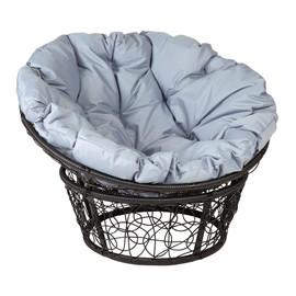 Кресло Papasan, (Patio-23-01 met 9) цвет плетения черный, цвет подушки серый EcoDesign