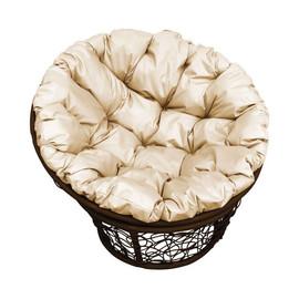 Кресло Papasan, (Patio-23-01 met 1)цвет плетения коричневый, цвет подушки бежевый