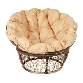 Кресло Papasan, (Patio-23-01 met 10) цвет плетения светло-коричневый, цвет подушки бежевый EcoDesign