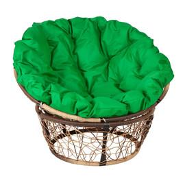 Кресло Papasan, (Patio-23-01 met 11) цвет плетения светло-коричневый, цвет подушки зеленый EcoDesign