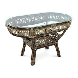 Стол кофейный из ротанга овальный ПЕЛАНГИ, 02-15А 1Б темно-коричневый Ecodesign