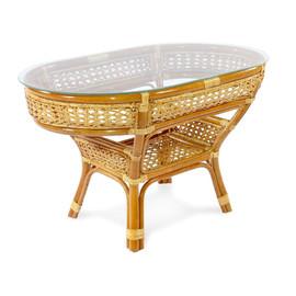 Стол кофейный из ротанга овальный ПЕЛАНГИ, 02-15А 1К коньячный Ecodesign