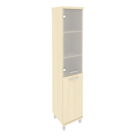Шкаф для документов в офис высокий узкий левый/правый (1 низкая дверь ЛДСП, 1 средняя дверь стекло) KSU-1.2 400*430*2060 Клён
