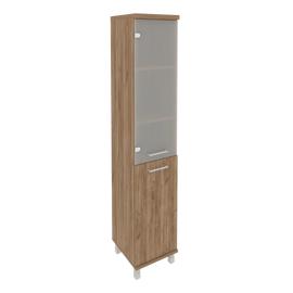 Шкаф для документов в офис высокий узкий левый/правый (1 низкая дверь ЛДСП, 1 средняя дверь стекло) KSU-1.2 400*430*2060 Дуб Табак