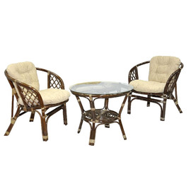 Комплект кофейный из ротанга БАГАМА 03/10-1 Б (стол, 2 кресла, подушка рогожка) Ecodesign