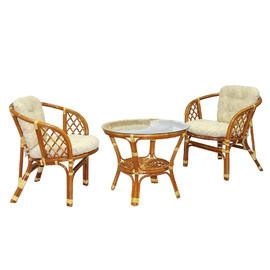 Комплект кофейный из ротанга БАГАМА 03/10-1 К (стол, 2 кресла, подушка рогожка) Ecodesign