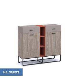 CALIPSO Шкаф низкий ОРЕХ БАРСЕЛОН/КИРПИЧ (138H006 LB/1G/ Е8 (9005))