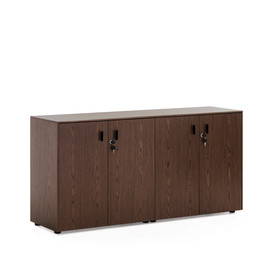 EXE Шкаф низкий 4 двери H.82 ОРЕХ МАРОНЕ/ЧЕРН (101 721 MAR 09)