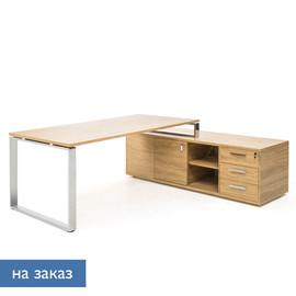 EXE Стол на опорной тумбе L229 ДУБ ФЛОРЕ/ХРОМ (101 106 FLO 07)