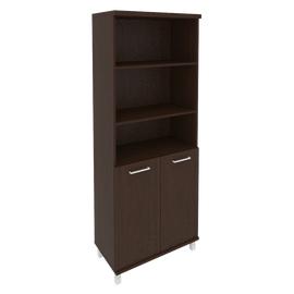 Шкаф для документов в офис высокий широкий (2 низкие двери ЛДСП) KST-1.1 800*430*2060 Венге