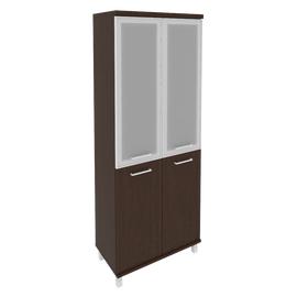 Шкаф для документов в офис высокий широкий (2 низкие двери ЛДСП, 2 средние двери стекло в раме) KST-1.2R 800*430*2060 Венге