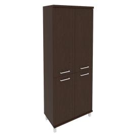 Шкаф для документов в офис высокий широкий (2 низкие двери ЛДСП, 2 средние двери ЛДСП) KST-1.3 800*430*2060 Венге
