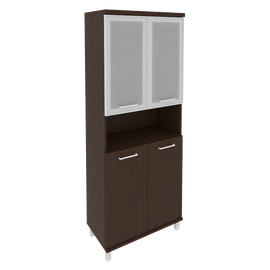 Шкаф для документов в офис высокий широкий (2 низкие двери ЛДСП, 2 низкие двери стекло в раме) KST-1.4R 800*430*2060 Венге