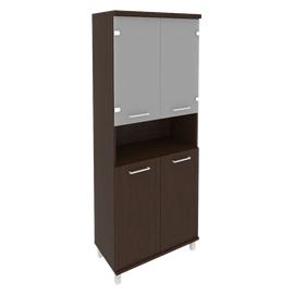 Шкаф для документов в офис высокий широкий (2 низкие двери ЛДСП, 2 низкие двери стекло) KST-1.4 800*430*2060 Венге