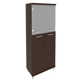 Шкаф для документов в офис высокий широкий (2 средние двери ЛДСП, 2 низкие двери стекло) KST-1.7 800*430*2060 Венге
