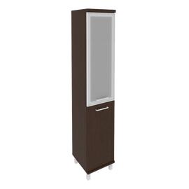 Шкаф для документов в офис высокий узкий левый/правый (1 низкая дверь ЛДСП, 1 средняя дверь стекло в раме) KSU-1.2R 401*432*2060 Венге