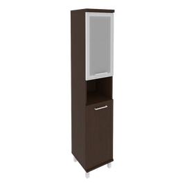 Шкаф для документов в офис высокий узкий левый/правый (1 низкая дверь ЛДСП, 1 низкая дверь стекло в раме) KSU-1.4R 401*432*2060 Венге
