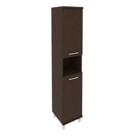 Шкаф для документов в офис высокий узкий левый/правый (2 низкие двери ЛДСП) KSU-1.5 400*430*2060 Венге
