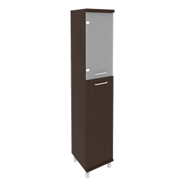 Шкаф для документов в офис высокий узкий левый/правый (1 средняя дверь ЛДСП, 1 низкая дверь стекло) KSU-1.7 400*430*2060 Венге