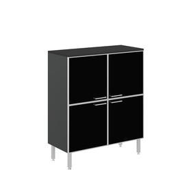 TETTO Шкаф черный 4 стеклянные двери (TETTO H.117 black glass doors, top BLACK)