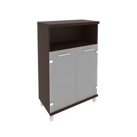 Шкаф для документов в офис средний широкий (2 низкие двери стекло) KST-2.2 800*430*1260 Венге