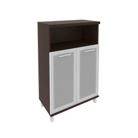 Шкаф для документов в офис средний широкий (2 низкие двери стекло в раме) KST-2.2R 800*430*1260 Венге