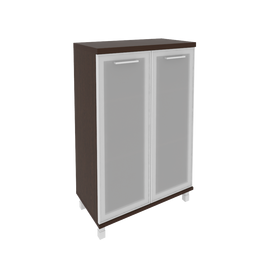 Шкаф для документов в офис средний широкий (2 средние двери стекло в раме) KST-2.4R 800*430*1260 Венге