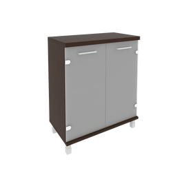 Шкаф для документов в офис низкий широкий (2 низкие двери стекло) KST-3.2 800*430*960 Венге