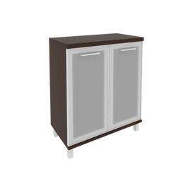 Шкаф для документов в офис низкий широкий (2 низкие двери стекло в раме) KST-3.2R 800*430*960 Венге