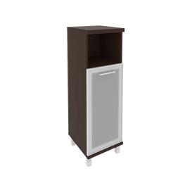 Шкаф для документов в офис средний узкий левый/правый (1 низкая дверь стекло в раме) KSU-2.2R 400*430*1260 Венге