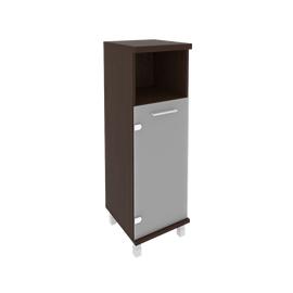 Шкаф для документов в офис средний узкий левый/правый (1 низкая дверь стекло) KSU-2.2 401*432*1260 Венге