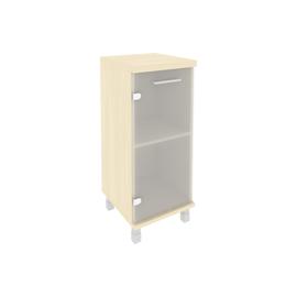 Шкаф для документов в офис низкий узкий левый/правый (1 низкая дверь стекло) KSU-3.2 400*430*960 Клён