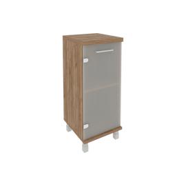 Шкаф для документов в офис низкий узкий левый/правый (1 низкая дверь стекло) KSU-3.2 400*430*960 Дуб Табак