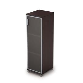 Шкаф для документов средний узкий со стеклом в алюминиевой раме Пр. AVANCE 6П.015.4 Венге 400х450х1348