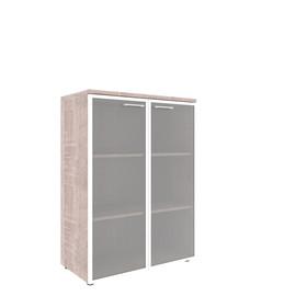 Шкаф для документов в офис со стеклянными дверьми в алюминиевой рамке с топом XMC 85.7