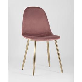 Стул Валенсия велюр пыльно-розовый золотые ножки Stool Group