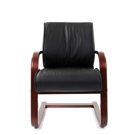 Офисное кресло для посетителей Chairman ch 445 WD кожа черная матовая