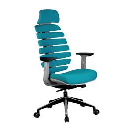 Компьютерное кресло для руководителя Riva Chair Shark Серый пластик/Лазурная ткань (26-30)