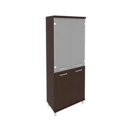 Шкаф для документов высокий широкий (2 низкие двери ЛДСП, 2 средние двери стекло) FIRST KST-1.2 800*430*2060 Венге