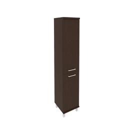 Шкаф для документов высокий узкий левый/правый (1 низкая дверь ЛДСП, 1 средняя дверь ЛДСП)FIRST KSU-1.3 401*432*2060 Венге