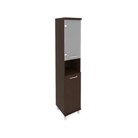 Шкаф для документов высокий узкий левый/правый (1 низкая дверь ЛДСП, 1 низкая дверь стекло) FIRST KSU-1.4 401*432*2060 Венге