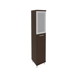 Шкаф для документов высокий узкий левый/правый (1 средняя дверь ЛДСП, 1 низкая дверь стекло в раме)FIRST KSU-1.7R 400*430*2060 Венге