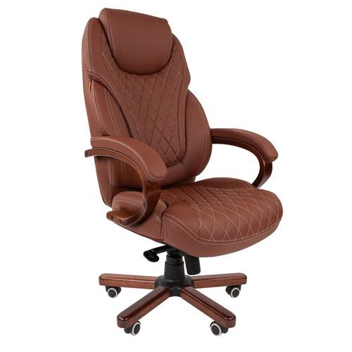 Компьютерное кресло для руководителя Chairman 406 Коричневая ЭКО Кожа