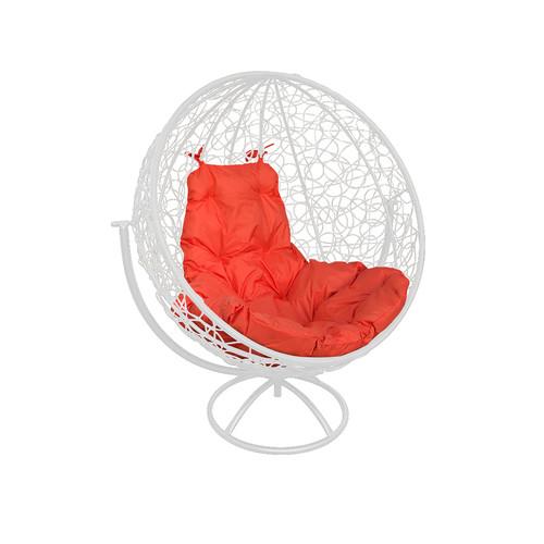 """Вращающееся кресло из ротанга  """"Круглое"""" цвет: Белый; подушка: Оранжевая"""