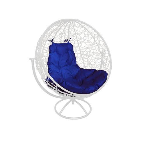 """Вращающееся кресло из ротанга """"Круглое"""" цвет: Белый; подушка: Ультрамарин"""