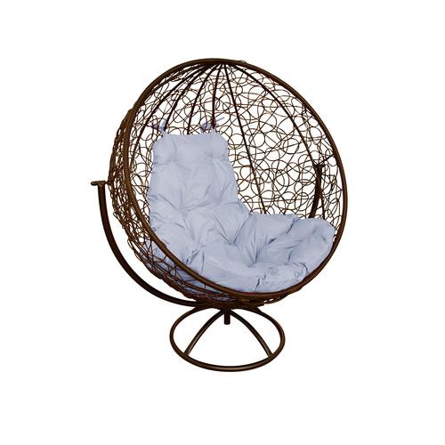 """Вращающееся кресло из ротанга """"Круглое"""" цвет: Коричневый; подушка: Серая"""