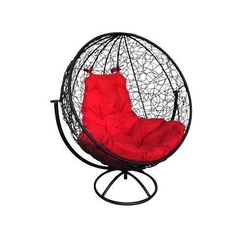 """Вращающееся кресло из ротанга """"Круглое"""" цвет: Чёрный; подушка: Малиновая"""