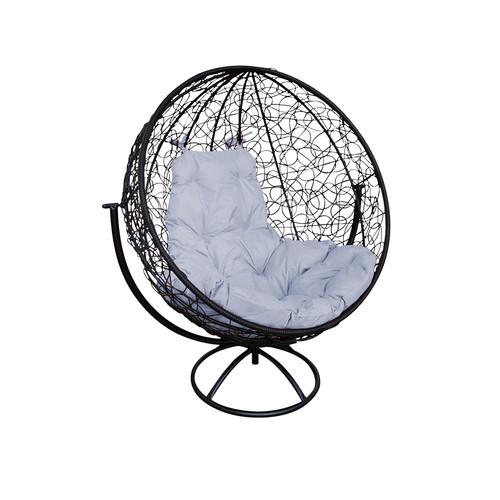 """Вращающееся кресло из ротанга  """"Круглое"""" цвет: Чёрный; подушка: Серая"""