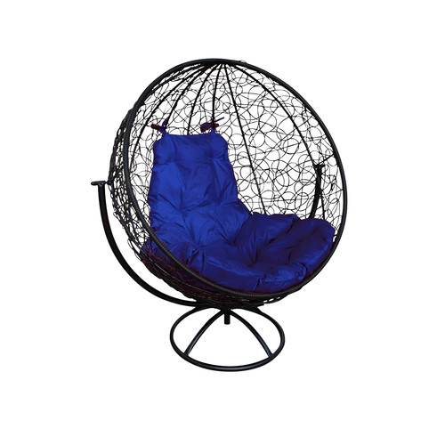 """Вращающееся кресло из ротанга """"Круглое"""" цвет: Чёрный; подушка: Ультрамарин"""